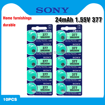 10 sztuk Sony 100 oryginalny 377 SR626SW SR626 AG4 1 55V srebrny tlenku bateria zegarka SR626SW 377 przycisk ogniwo monety wykonane w japonii tanie i dobre opinie 24mAh 6 8*2 6mm Tlenek srebra SR626SW Battery 377 Silver Oxide battery AG4 batteries toys calculators laser pointers clocks watches computers games