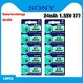 10 шт. Sony 100% оригинальный 377 SR626SW SR626 AG4 1,55 V Серебряный оксид, часовая батарея SR626SW 377, Кнопочная монетница, сделано в Японии