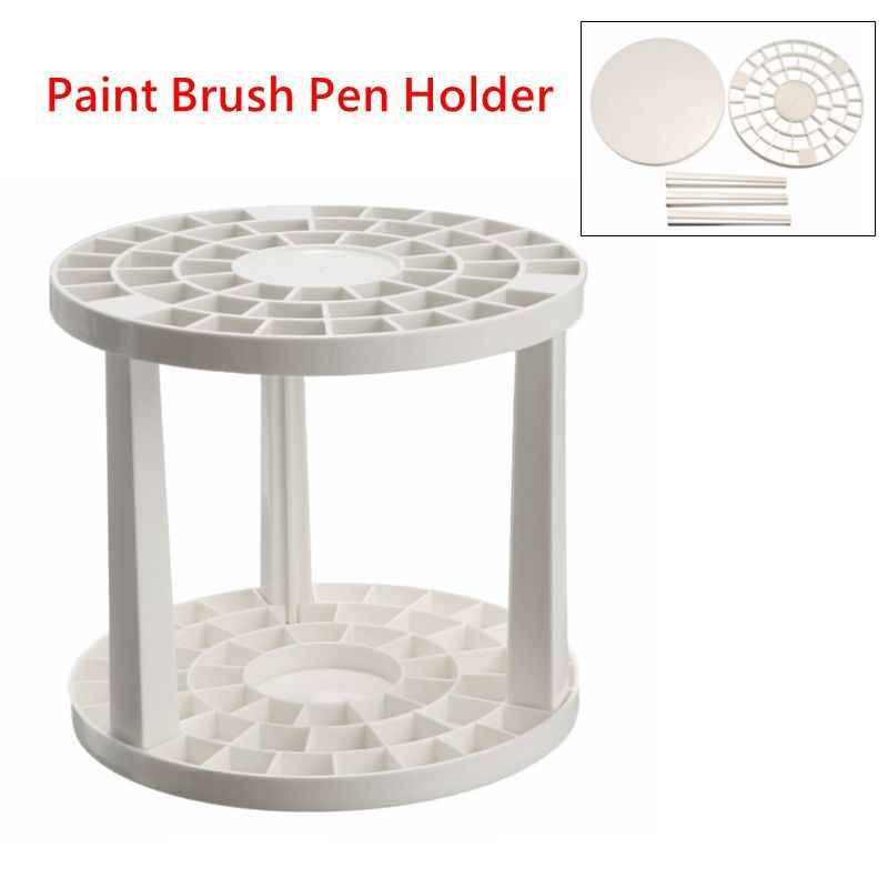Portable 49 Holes Paint Brush Pen Holder Pen Rack Display Stand Support Holder Watercolor Painting Brush Pen Holder