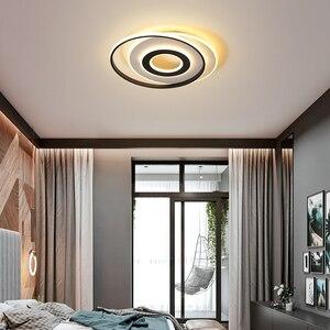 Image 2 - LedLamp rodada lustre lustres Iluminação Lustre Moderno Preto e Branco para Sala de estar Quarto Cozinha lâmpada do teto Lustre