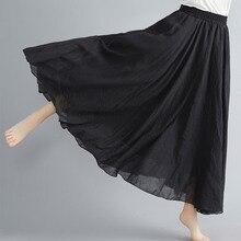 Supermiss Women Bohemian Cotton Linen Double Layer Elastic Waist Long Maxi Skirt