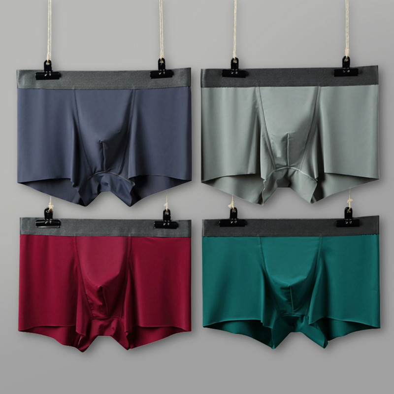 2019 Seamless Men Boxers Luxury Silky Male Underwear Antibacterial 3D Crotch Underpants Men Shorts Ropa Interior Hombre Slips