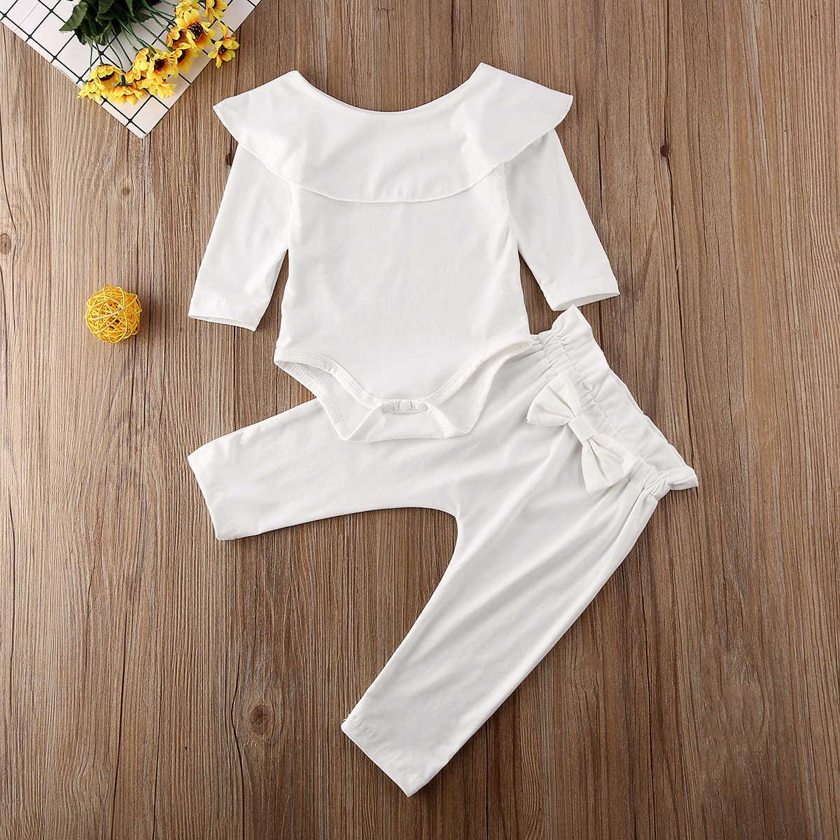 Maluch dzieci dziewczynka wzburzyć body Romper Top jednolita, z kokardką spodnie spodnie jesień bawełna strój z długim rękawem ubrania zestaw 2 sztuk