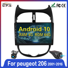 Android-10 GPS Navigation Dvd-Player Multimedia Peugeot 206 2din Car-Radio for 64G GO