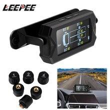 Sistema de Monitoreo de presión de neumáticos de coche, TPMS, carga Solar con 6 sensores externos, pantalla LCD, Monitor de alarma de temperatura de neumáticos