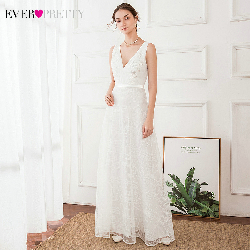 Elegant White Evening Dresses Ever Pretty A-Line Double V-Neck Sleeveless Sequined Lace White Evening Gowns Abendkleider 2020