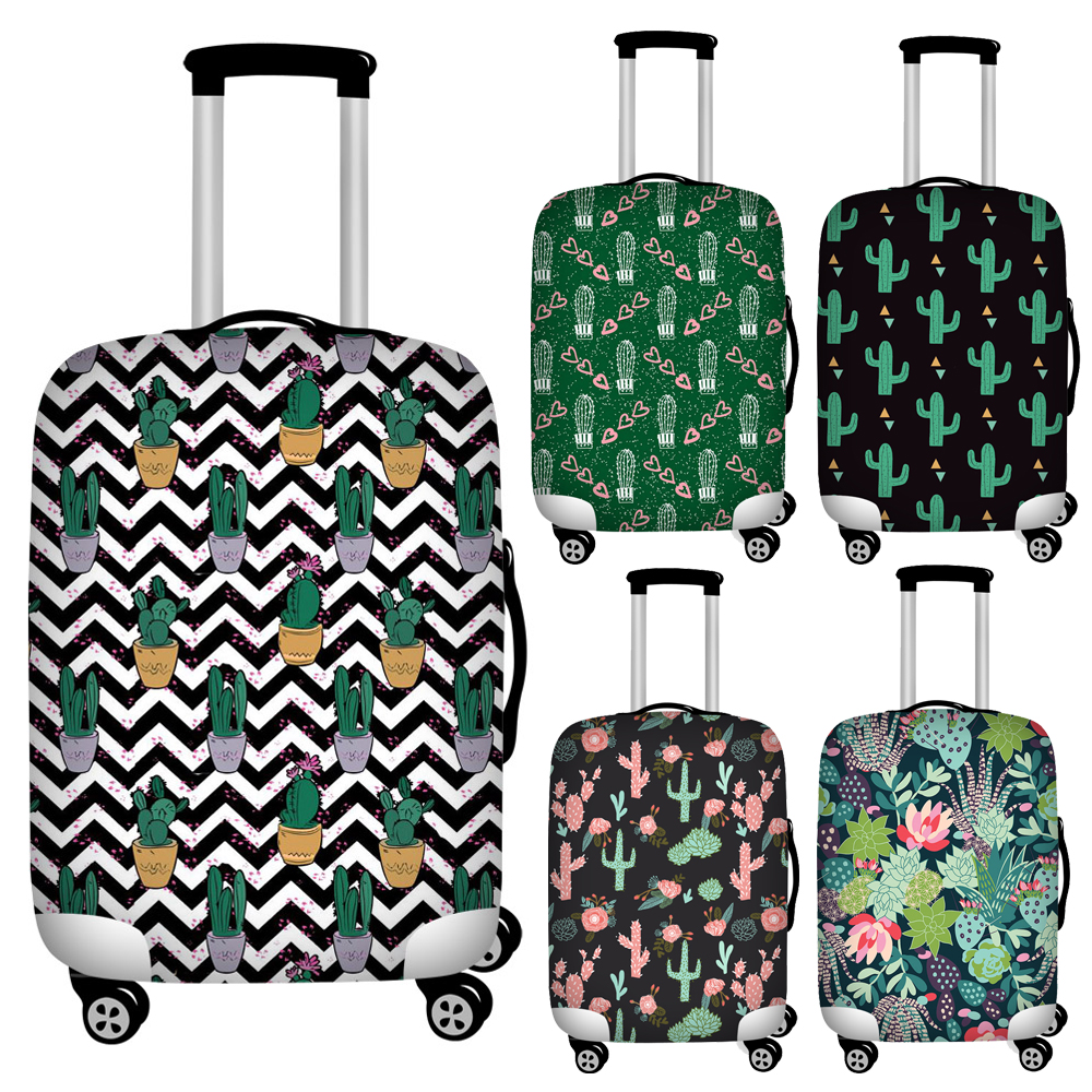 Twoheartsgirl Waterproof Floral Cactus Print Travel Luggage Covers Elastic 18/20/22/24/26/28/30/32 Protective Suitcase Cover