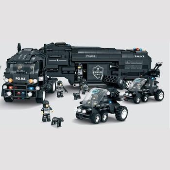 1492PCS C0552 SWAT series Troops military Defender battle command vehicle Building Blocks Bricks Children Toys Gifts For Friends