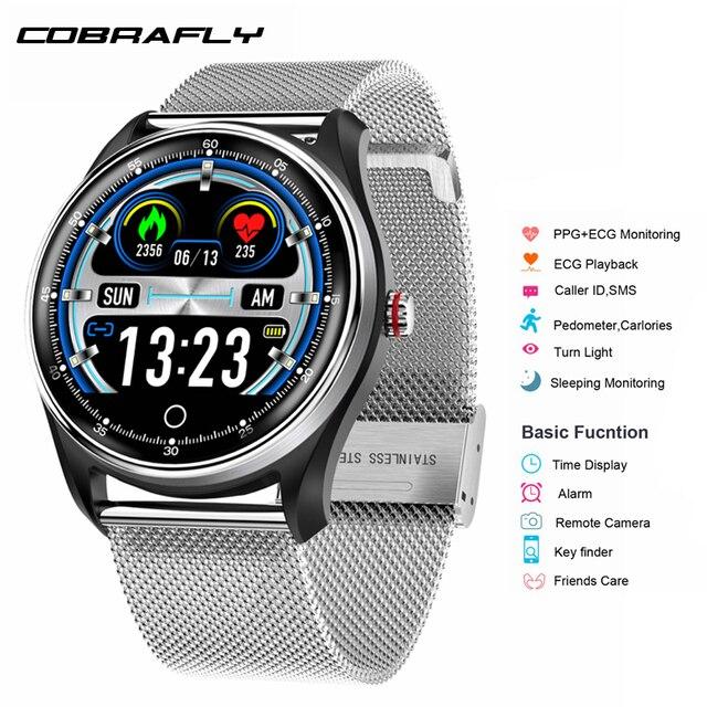 Cobrafly  MX9 Smart Watch Men Fitness ECG+PPG HRV Heart Rate Blood Pressure Monitoring IP68 Waterproof Bracelet for Android IOS