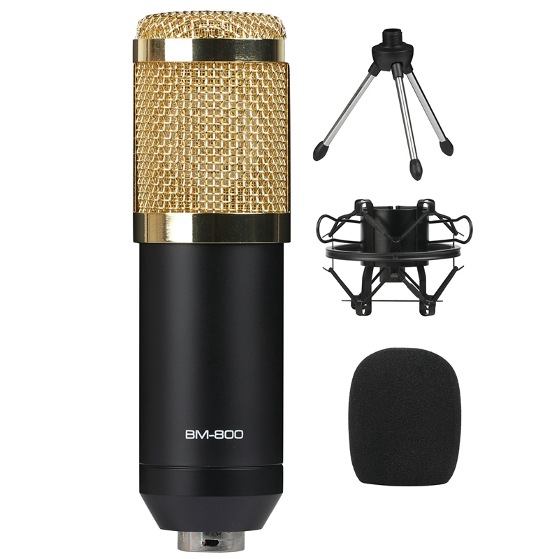 AAAE Top-B.BMIC <font><b>BM800</b></font> <font><b>Mikrofon</b></font> Condenser BM 800 Microphone with Shock Mount for Radio Braodcasting Singing Recording KTV Karaoke image