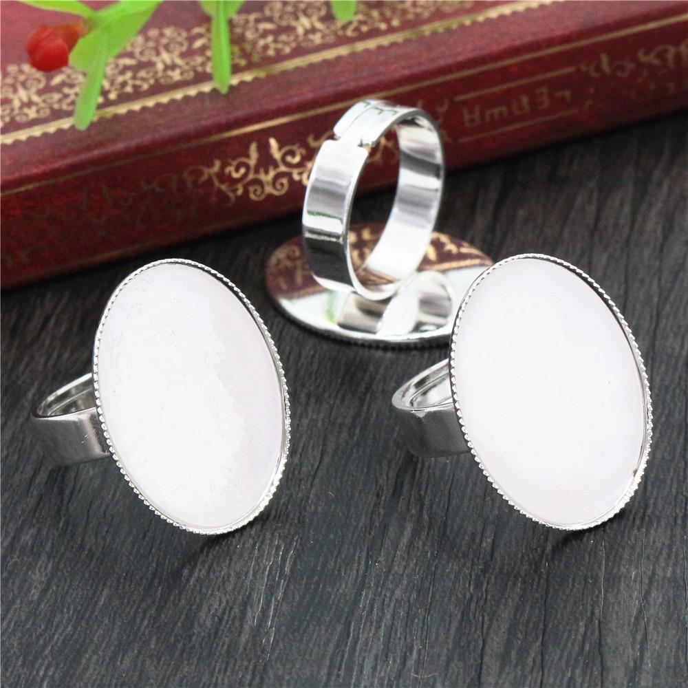10pcs Plaqué Argent Réglable Ring Blank//basefit 18 mm cabochons