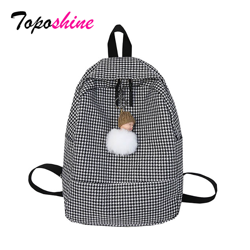 Backpacks Houndstooth Bag Travel School-Bag Girls Women Ladies for 3-Color Black Drop-Ship