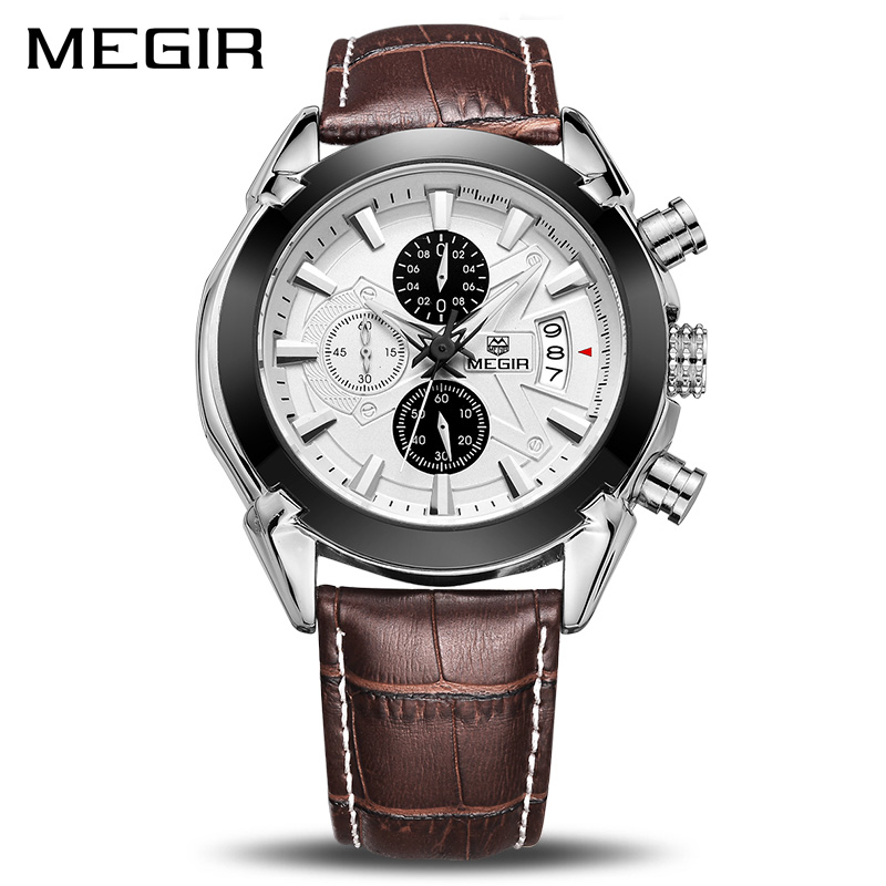 Male Business Genuine Leather <font><b>Megir</b></font> Watches Men Casual Quartz-watch Chronograph Quartz Men Watch Brand Luxury Famous Wristwatch image