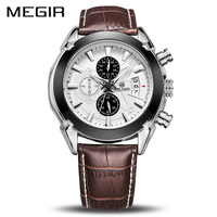 Male Business Genuine Leather Megir Watches Men Casual Quartz watch Chronograph Quartz Men Watch Brand Luxury Famous Wristwatch