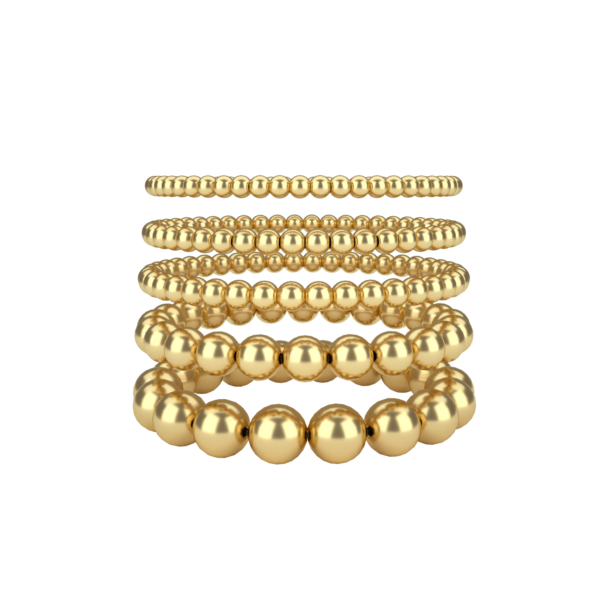 6MM 8MM 10MM Gold Farbe Perlen Armband für Frauen Trendy Erklärung Big Runde Perlen Handgemachte Armband 3 teile/satz Mode Schmuck
