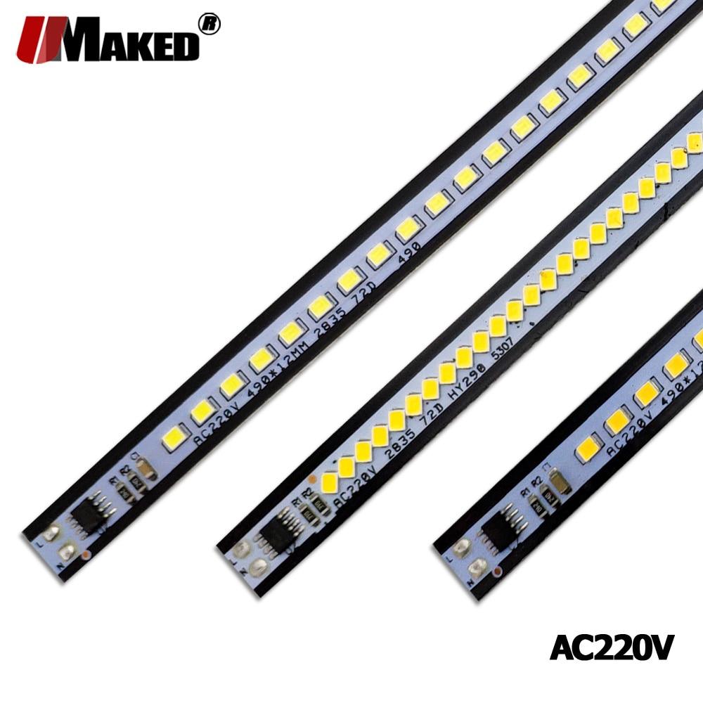 10pc AC220V LED Bar Light 3W 4W 6W 8W 10-20-30-50CM 24-36-72LEDs SMD 2835 LED Rigid Strip Model For Light Boxes,kitchen Light