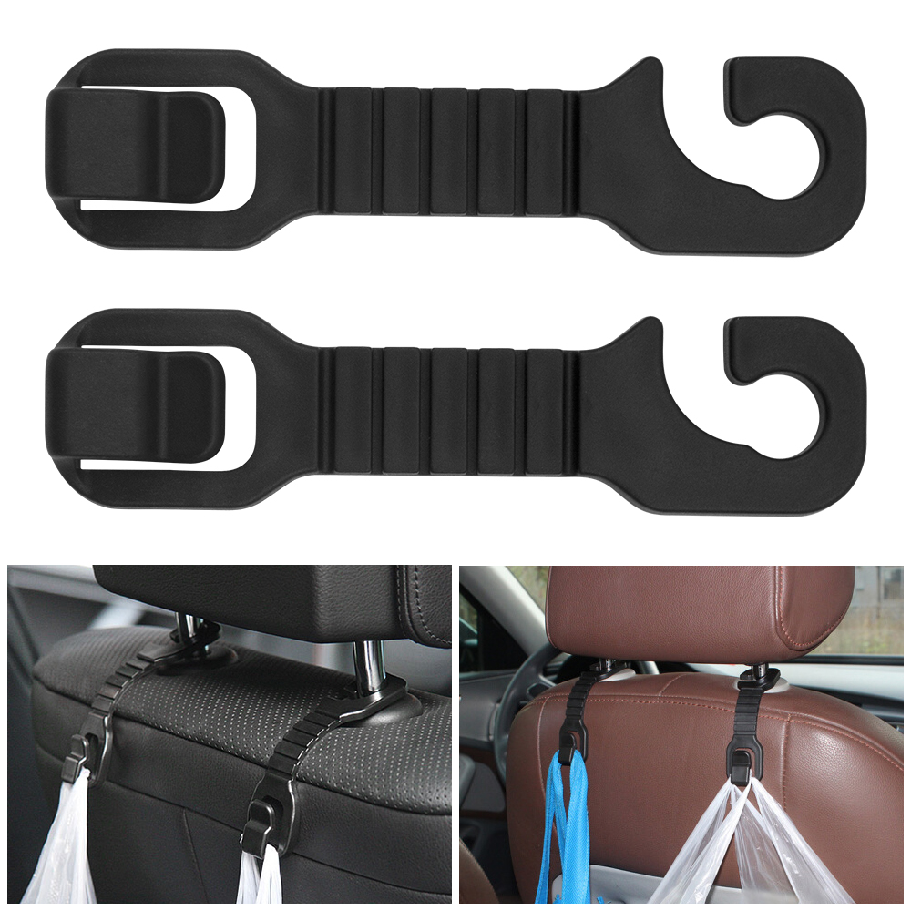 <font><b>2</b></font> Universal Plastic Car Clips Auto Fixing Fastener Clips Car Headrest Bag Hook Back Seat Hanger Organizer Hook Accessories image