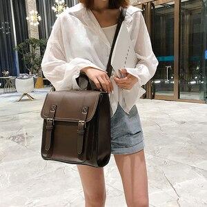 Image 5 - Vintage Backpack Female Pu Leather Bag Womens Backpack Fashion School Bag for Girls High Quality Leisure Shoulder Bag Sac A Dos