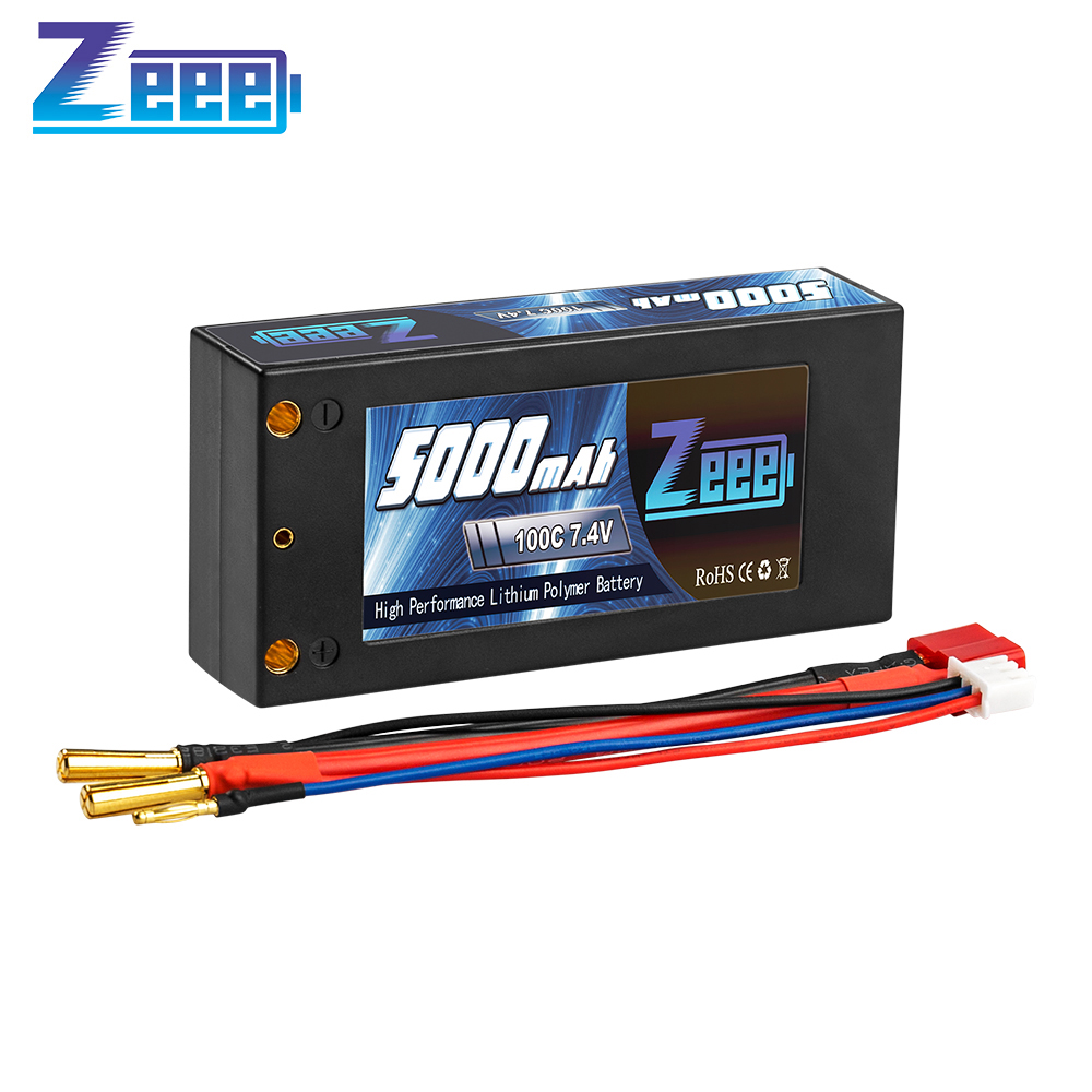 Zeee <font><b>2S</b></font> 7.4V 100C <font><b>5000mAh</b></font> Shorty <font><b>Lipo</b></font> Battery Hardcase with Deans Connector for RC 1/10 Scale Vehicles Car Trucks Boats RC Model image