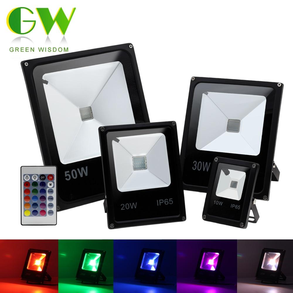 LED Landscape Lighting 220V 10W 20W 30W 50W 100W 200W RGB Floodlight Outdoor Waterproof Spotlight With Remote Control For Garden