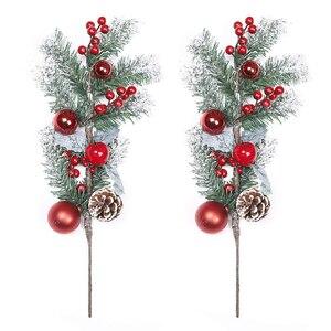 Рождественская Прямая поставка красные ягоды стебли искусственные сосновые палочки для украшения рождественской елки праздничные украше...
