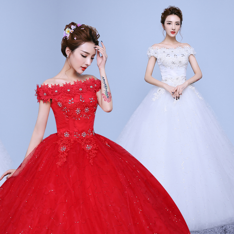 US $36.6 40% OFF|Red White Ball Gown Lace Up Wedding Dress Bride Plus Size  Wedding Dresses Bridal Flower Dresses-in Wedding Dresses from Weddings & ...