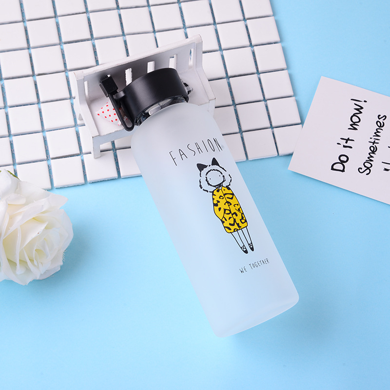 Fashion glass frosted cup couple water waterbottle bottle cute  drinking set jug