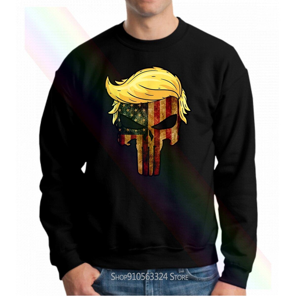 Crânio preto com icônico trump cabelo presidente bandeira américa moletom com capuz 100 algodão feminino masculino
