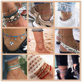 GUVIVI 2020 Gold Color Chain Bracelet on Leg Beach Ankle Jewelry Bohemian Pendant Anklets Beads Anklets for Women