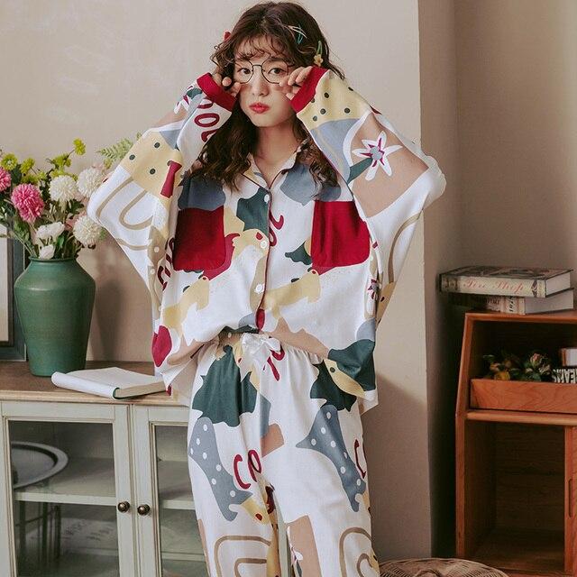 BZEL New Autumn Winter Sleepwear 2 Piece Sets For Womens Cotton Pajamas Turn down Collar Homewear Large Size Pijama Pyjama XXXL