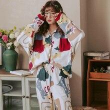 Bzel新秋冬パジャマ2のために設定し女性の綿パジャマターンダウン襟ホームウェア大サイズスパースターパジャマxxxl