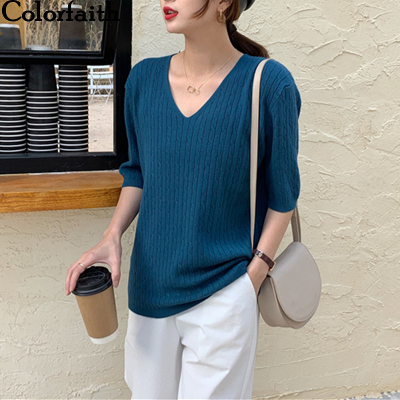 Colorfaith New 2020 Women Spring Summer T-Shirts Knitted Solid Multi Colors Bottoming Casual Half Sleeve V-neck Loose Top T4159