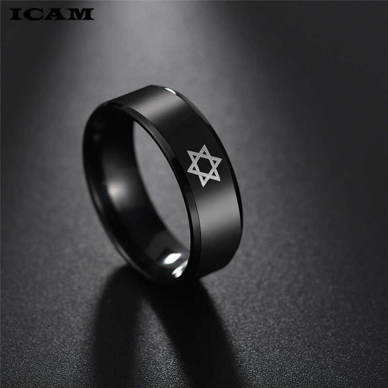 ICAM שחור מגן דוד טבעת גברים דתי יהדות ישראל יהודית תכשיטי גברים טבעת נירוסטה אובסידיאן דוד כוכב טבעות