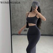 2020 yaz yeni bayan seksi sıkı göbek kaşkorse yüksek bel tankı üstleri + kalça uzun etek iki parçalı Set DHAO