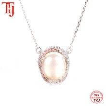 TKJ 100% 925 en argent Sterling rond nacre pendentif collier élégant longue chaîne femmes pendentif collier Fine bijoux cadeau
