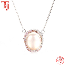Tkj 100% 925 prata esterlina redonda mãe de pérola pingente colar elegante longo corrente feminino pingente colar jóias finas presente