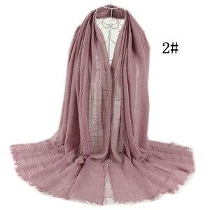 Image 5 - Crinkle Plain Falten Wrap Blase Baumwolle Viskose Lange Schal Schal Frauen Hijab Schal Muslimischen Kopf Hijab Schal 10 teile/los