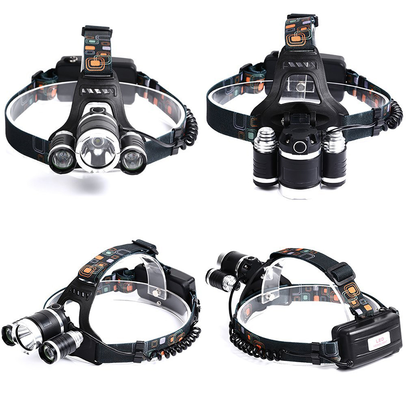 Купить с кэшбэком Rechargeable Headlight 1000Lm XM-T6 3Led HeadLamp head light Fishing Lamp Hunting Lantern +2x 18650 battery +Car/AC/USB Charger