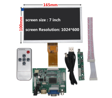 цена на 7 inch LCD Screen Display Monitor with Remote Driver Control Board 2AV HDMI VGA for Raspberry Pi Banana/Orange Pi mini computer