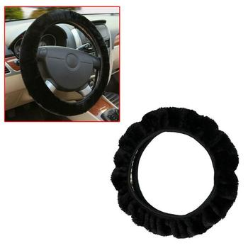 Steering wheel cover Steering Cover Car Accessory Black Warm Soft Fuzzy Plush Auto Truck Steering Wheel Cover Interior Accessory image