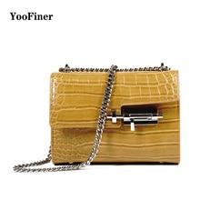 YooFiner new arrival fashion special lock crocodile chain Mini shoulder bag woman handbag women yellow and black