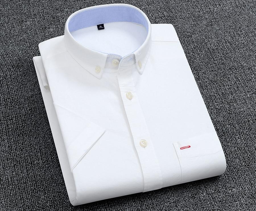 Hdab5454110d846779092b173af1a91e1t Men's Summer Pure Cotton Oxford Shirts Casual Slim Fit Design Short Sleeve Fashion Male Blouse Shirt