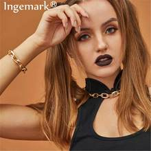 Hip Hop Curb Cuban Thick Chain Choker Necklace Bracelet NE+BA Statement Ethnic Big Chunky Snake Necklace Men Women Jewelry Set(China)