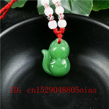 Natural Green Chinese Jade Fox Pendant Agate Necklace Fashion Charm Jewelry Carved Amulet Gifts for Women Men image