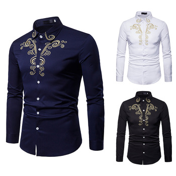 Men's Royal Court Embroidered Outerwear Lapel Plus Size Long Sleeve Shirt Flower Shirts Stand Collar Autumn Clothes flower embroidered long sleeve ruffled top