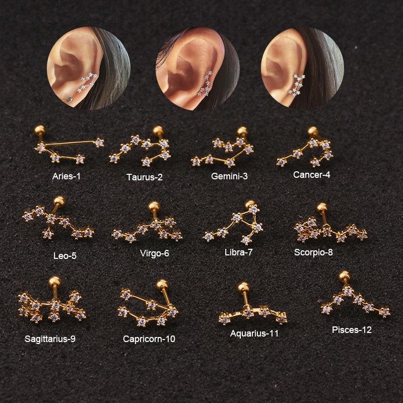 1Piece Twelve Constellations Steel Barbell CZ Horoscope Astrology Zodiac Ear Earrings Tragus Daith Piercing Jewelry