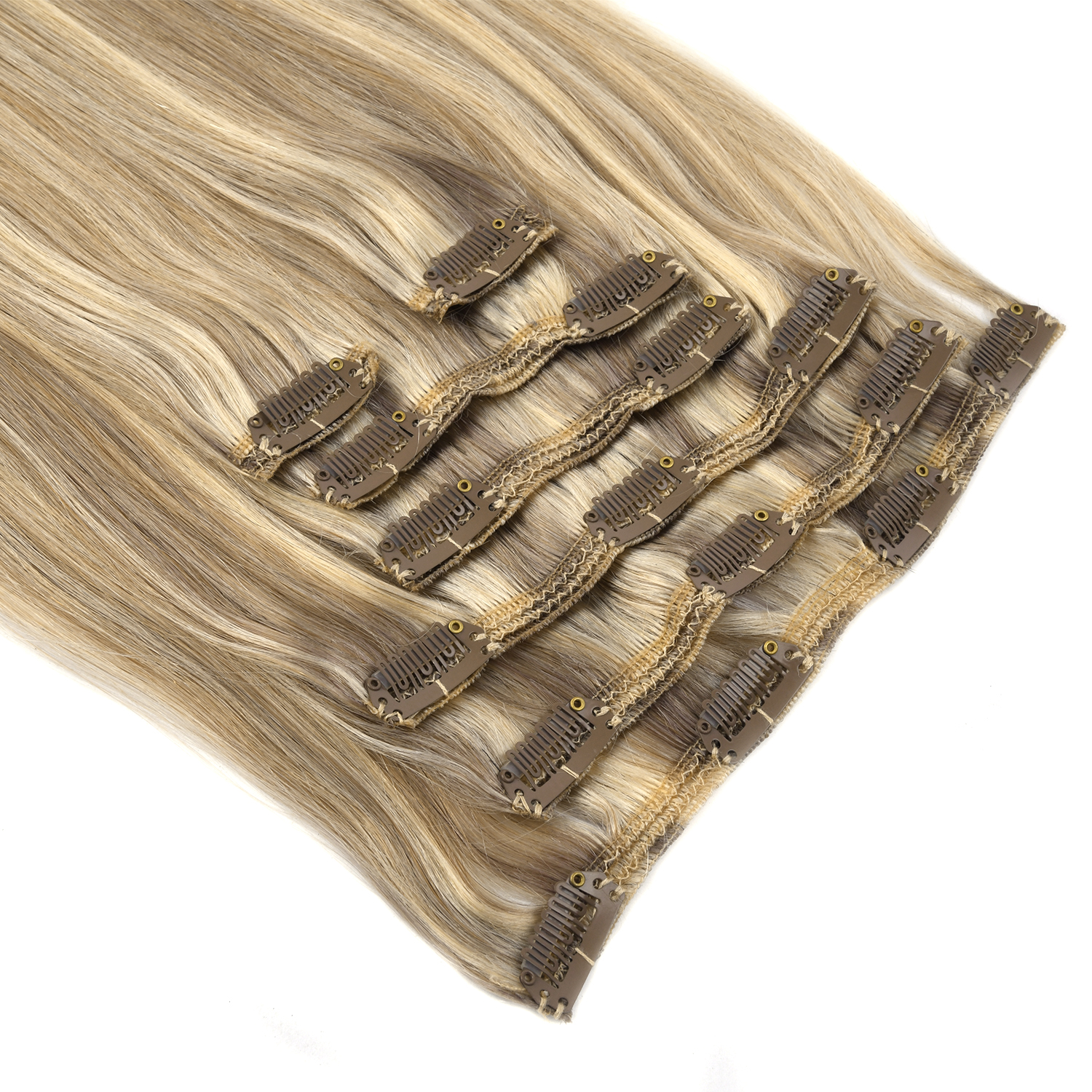 Vlasy 20'' 7pcs/set 100% Remy Hair Full Head Straight Balayage Ombre Clip In Human Hair Extensions 110g