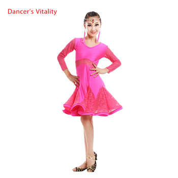 New spandex Adult Child Latin dance costumes lace long sleeves latin dance dress for child latin dance  dresses S-3XL 240