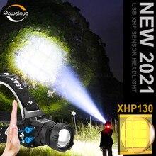 600000LM XHP130 LED Headlamp IR Sensor Head flashlight 18650 Rechargeable USB Fishing Headlight XHP90 Hunting Lantern XHP70.2