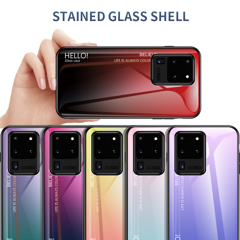 Tempered Glass Case For Samsung Galaxy S8 S9 S10 Plus S20 Ultra Note 10 Lite S7 Edge A51 A81 A91 A01 A21 Gradient Fundas Coque